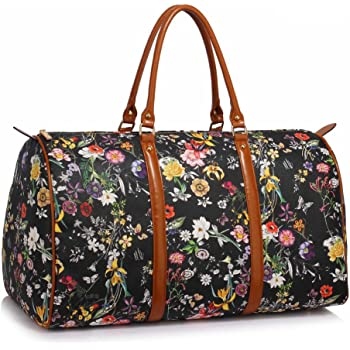 Ladies Large Weekend Bag Womens Hand Luggage Travel Holdall Floral Faux  Leather Lightweight Handbag 32856412f2