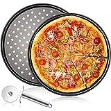 Plaques Rondes de Pizza Lot de 3,12 Pouces Plaque Cuisson Pizza Revêtement Anti-adhérent Assiettes À Pizza,Acier au Carbone P