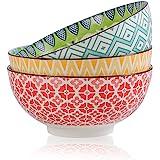 Saladier Bol Ramen Porcelaine 1.45 Litres - Bol a Soupe | Salade| Pates | Nouille | Poke - Lot de 3 Grand Bol 20 cm - Utilisa