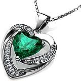 DEPHINI - Collar de corazón verde - Plata de ley 925 - Piedra natal de peridoto adornada con colgante de cristal de Dephini -