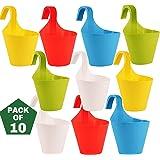 Leafy Tales Plastic Hook Hanging Pot, Multicolor 29 x 12 x 22 cm, 10 Pieces