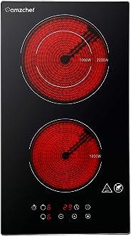 Domino Table de cuisson vitrocéramique,Amzchef double vitrocéramique avec en verre de cristal noir poli,commande tactile,un