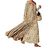 Tomwell Mujer Casual Vestidos Verano Playa Fiesta Manga Largo Cuello en V Floral Boho Largo Vestido Elegante Chic Maxi Vestid