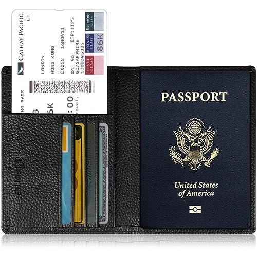 FINTIE Porta Passaporto da Viaggio Portafoglio con Protezione RFID per Carta di Credito ID Documenti Custodia, Nero