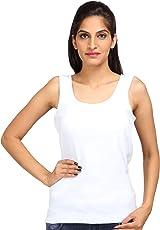 ALBATROZ Cotton U Neck Ladies Plain Spaghetti Tank Top Vest Camisole Sando for Women White (Free Size)