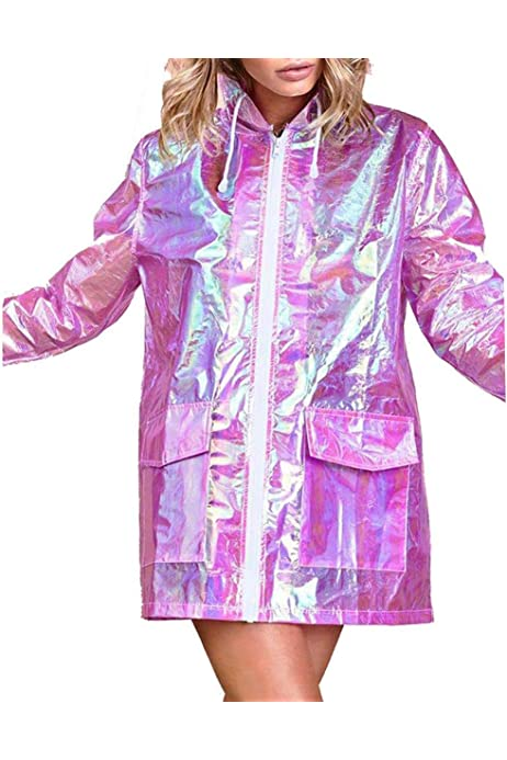 Festival Fancy Dress Various Sizes 8-16 Blue Holographic Raincoat