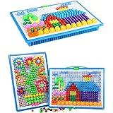 296 pcs Mushroom Nails Pegboard Educational Colourful Jigsaw Puzzle Building Blocks Bricks Creative DIY Mosaic Toys for Kids