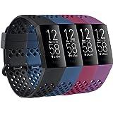 AK Opakowanie 4 kompatybilne z paskiem Fitbit Charge 3/Fitbit Charge 4, oddychające silikonowe zapasowe akcesoria sportowe op