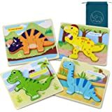 Dinosaur Toys for Boys, Dinosaurs Wooden Chunky Puzzles Montessori Toddler Game Set for Kids Age 1 2 3 4 5 Year Old Boys and