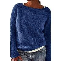 YYIDATON Damen Pullover Winter Basic Oversize Pullover Casual Langarm Rundhals Strickpullover Tops