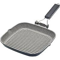 "MasterClass Non-Stick Induction-Safe Griddle Pan with Folding Handle, 20 cm (8""), Aluminium, Black"