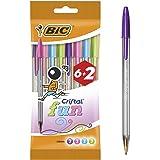 BIC Cristal Fun Bolígrafos Punta Ancha (1,6 mm) – Colores Surtidos, Blíster de 6+2 Unidades - Bolígrafos para escritura suave