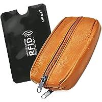 LIVAN - Portefeuille Grand Classique Porte 20 Carte crédit Billet Monnaie en Cuir synthétique Homme (B7 Camel RFID)