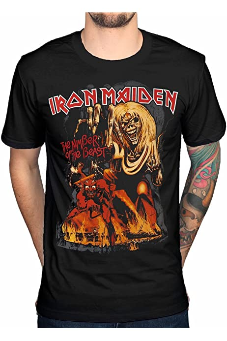 Iron Maiden T Shirt Number of The Beast Jumbo Band Logo offiziell Herren Nue