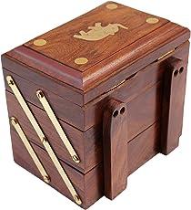 ITOS365 Handmade Wooden Jewellery Box for Women Jewel Organizer Elephant Charm Gift Items