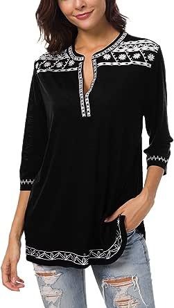 Urban GoCo Donna Boho Camicia a Maniche 3/4 Casual Ricamato T-Shirt Tops Blusa