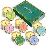 LA BELLEFÉE Bougies Parfumées, 6 Pièces Bougies d'Aromathérapie avec d'Huile Essentielle, Coffret Cadeau pour Noël, Bain, Mai
