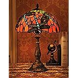 12 pouces européenne Vintage Style vitrail libellule et perle couleur chaude série lampe de table lampe de bureau lampe de ch