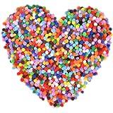 FOROREH 6mm Pompons Multicolores Rondes, Mini Balle Pom Pom pour Enfant Artisanat, Pompons pour Couture, Pom Pom Balle -2000p