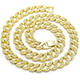 Bling Bling NY Iced out Miami Cuban Link collana girocollo/bracciale finitura in oro con diamanti sintetici 15 mm.
