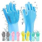 قفازات تنظيف اليد من السيليكون السحري لتنظيف الاطباق وغسيل السيارات والحمام والعناية بالحيوانات الاليفة، خالية من اللاتكس (مت