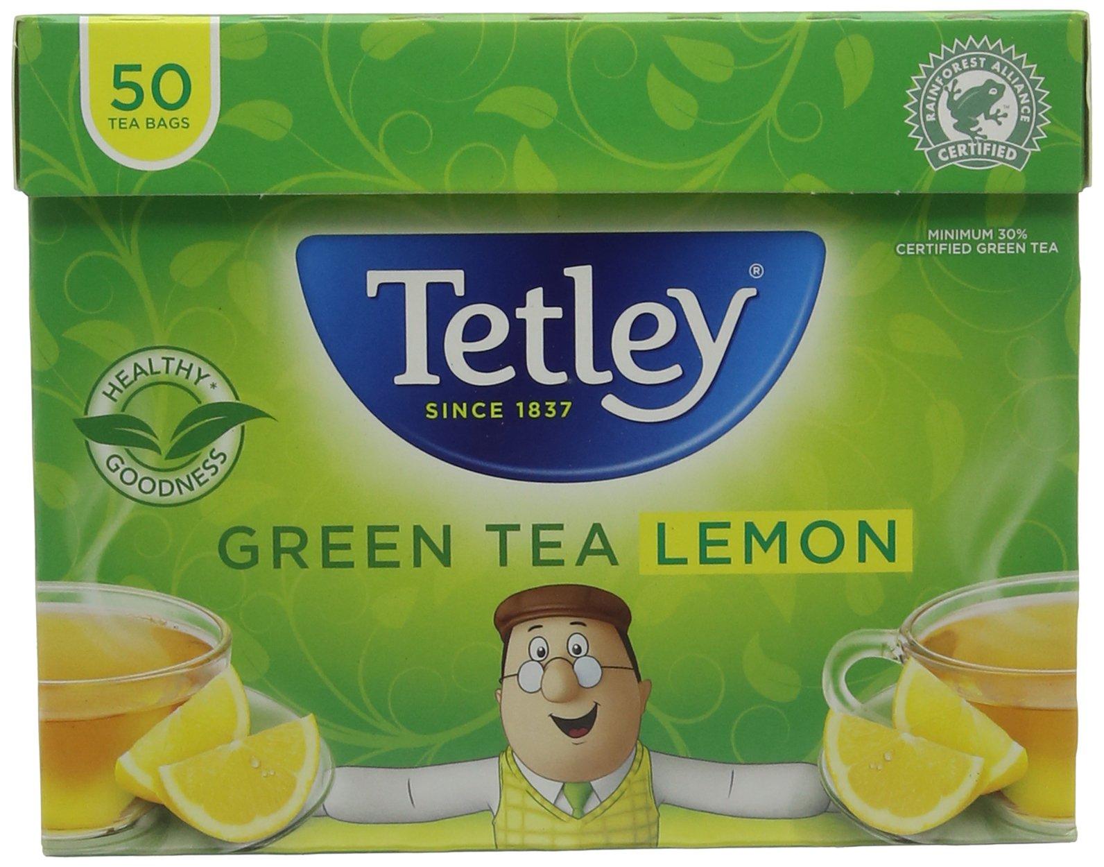 Tetley green tea bundle (rainforest alliance) (green tea) (6 packs of 50 bags) (300 bags) (a fruity tea with aromas of lemon) (brews in 1-3 minutes)