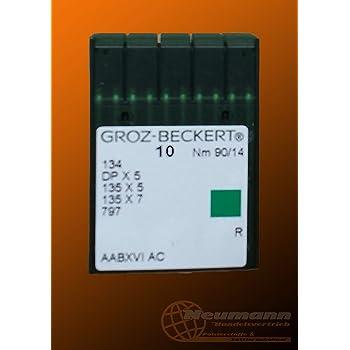 GROZ-BECKERT 10er Packung N/ähnadeln 135x17 mit Rundkolben und Rundspitze f/ür Industrien/ähmaschinen NM. 90//14