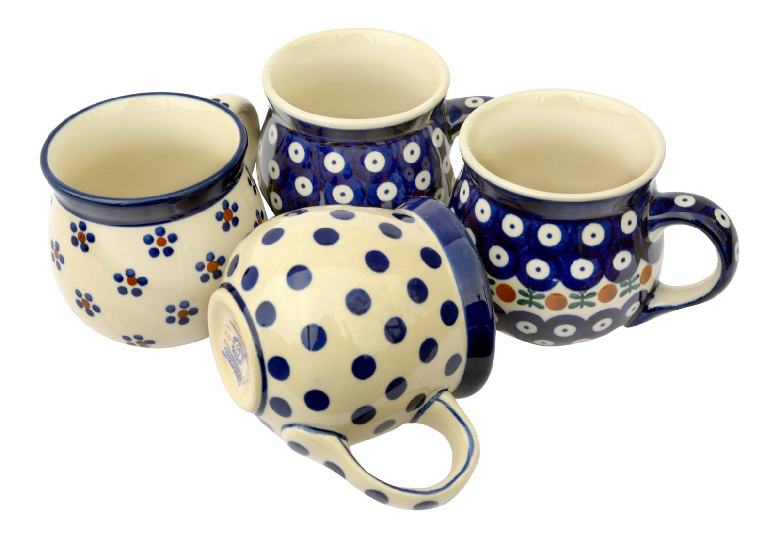 Bunzlauer Keramik Manufaktura Hand-Decorated Polish Pottery Manu Faktura 70 A 090, 61X, 64X, 70 – Set of 4 Bauble Mug Quartet, 9.5 cm, cobalt blue, 4 Units