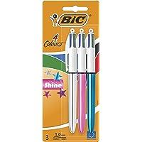 BIC 4 Couleurs Shine Stylos-Bille Rétractables Pointe Moyenne (1,0 mm) - Corps Assortis Métallisés, Blister de 2+1