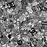 100x150cm Stickerbomb Auto Folie in schwarz / weiß Glänzend - Sticker Logo Bomb - JDM Aufkleber - Design: SkateBW