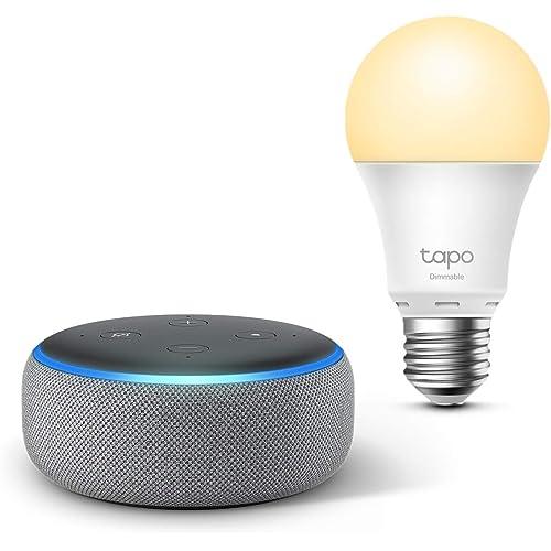 Echo Dot (3ª generazione), Tessuto grigio mélange + TP-Link Tapo Lampadina Smart (E27), compatibile con Alexa