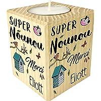 Bougie personnalisée Super Nounou Merci – Porte Bougie en bois personnalisé avec le prénom – Cadeau de fin d'année pour…