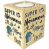 Bougie personnaliséeSuper Nounou Merci – Porte Bougie en bois personnalisé avec le prénom – Cadeau de fin d'année pour remer
