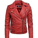 Brandslock Vintage Delle Donne Classic Rosso motociclista in pelle Jacket look elegante Designer
