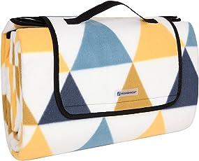 SONGMICS 200 x 200 cm XXL Picknickdecke Fleece wärmeisoliert wasserdicht mit Tragegriff