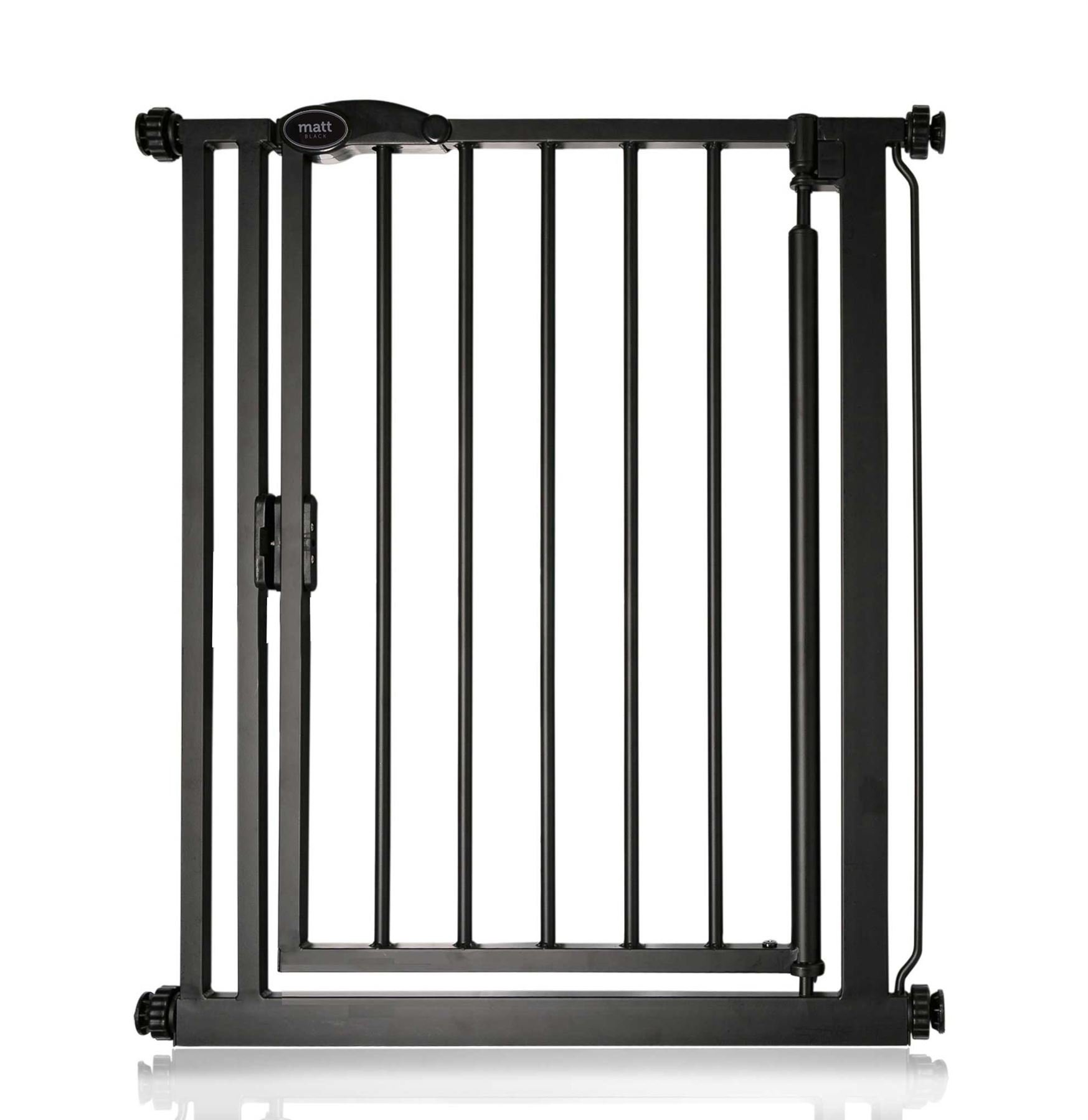 Safetots Auto Close Baby Gate Matt Black Range (68.5cm - 75cm) Safetots Fits openings from 68.5cm to 75cm Pressure fitted Stair Gate with Matt Black Finish One-handed operation with auto close function 1