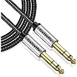 Gxfcyffs Câble 6,35mm vers 6,35mm Stéréo 2M, Câble Guitare Électrique Professionnel Tresse Nylon, Noyau Cuivre Argenté, Câble