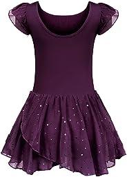 trudge Kinder Ballettkleidung Ballettkleid Mädchen Kurzarm Baumwolle Balletttrikot Ballettanzug Tanzkleid Tanzbody mit Rock T