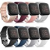 AMK 8 Stück Armband Kompatibel mit Fitbit Versa 2 Armband/Fitbit Versa Armband, Weich Silikon Ersatzarmband für Fitbit Versa/