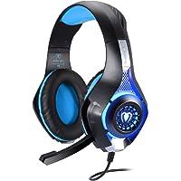 BlueFire Casque Gamer PC,Casque PS4 avec Micro Stéréo Basse avec LED Lumière,Hi-FI de 3.5mm Jack Anti-Bruit Casque Gaming pour Xbox One S/PC/Mac/Tablette et Smartphones (Bleu)