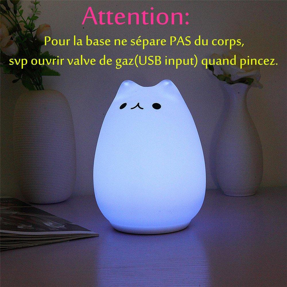 Souple Jouet Mignon Solmore Changement Silicone Animaux Deco Usb Rechargeable Chaudamp;7 De Rgb Couleur Chat Lampe Chevet Blanc Veilleuse Led Z0PN8kOXnw