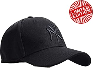 MoohMaya Premium Flexifit Stretchable Black NY Solid Backside Closed Caps for Men & Women for Sports & Outdoor
