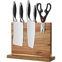 Esyhomi Bloc à couteaux magnétique en bois de bambou - Sans couteau - Support magnétique des deux côtés - Solide et…
