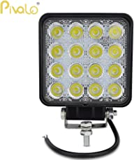 Pivalo Pv16S1P 16 LED Square Fog Light Waterproof Flood Beam Off Road Driving Spot Lamp for Car and Motorcycle (48W)