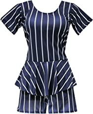 I-Swim Ladies Swimming Costume Dark Black with White Stripes