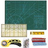 Kit Tapis de Découpe A3 Ensemble Cutter Rotatif 45mm Ruban à Mesurer 300cm Pince Plastique (Lot de 20) épingles (50 pièces),