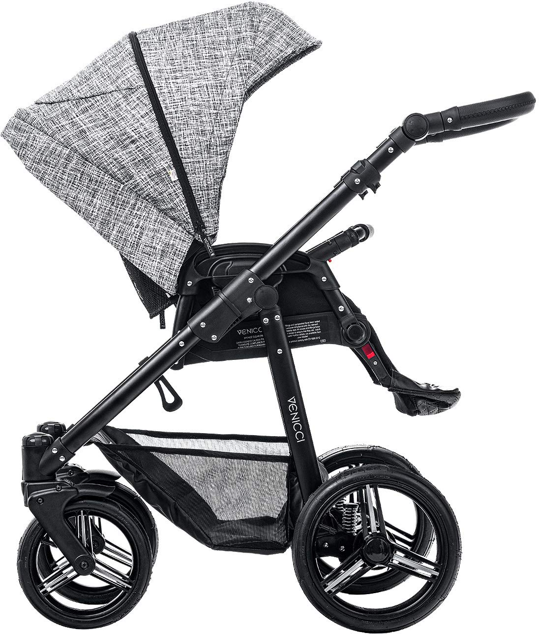 Venicci Shadow 2-in-1 - Fashion Black Travel System Venicci Also includes: Changing bag, Apron, Rain cover, Mosquito Net, Cup holder Carrycot: L 102cm W 61cm H 112 cm Age suitability: From birth to 6 months Seat unit: L 95cm W 61cm H 112cm Age suitability: From 7 to 36 months 3