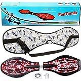 FunTomia Waveboard Original con Ruedas LED y rodamientos ABEC-11 - Incluye Bolsa y CD - Rosa/Diseño Floral