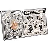 Taufgeschenk für Jungen und Mädchen mit Bilderrahmen und Fuß-Handabdruck Baby Geschenk Set mein erstes Jahr Babygeschenk Geburt Babyparty Taufe Geschenkidee