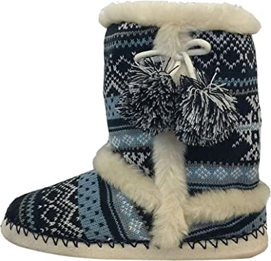 Dunlop Womens Faux Fur Lined Ankle Slipper Boots
